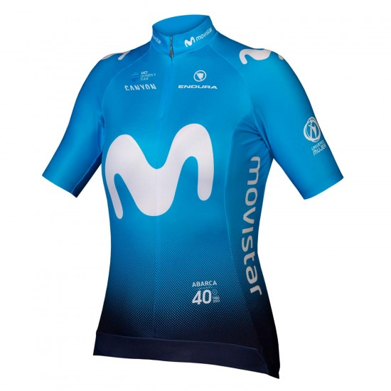 2019 Movistar Womens Short Sleeve Cycling Jersey (Continuous Zipper)- 1111111